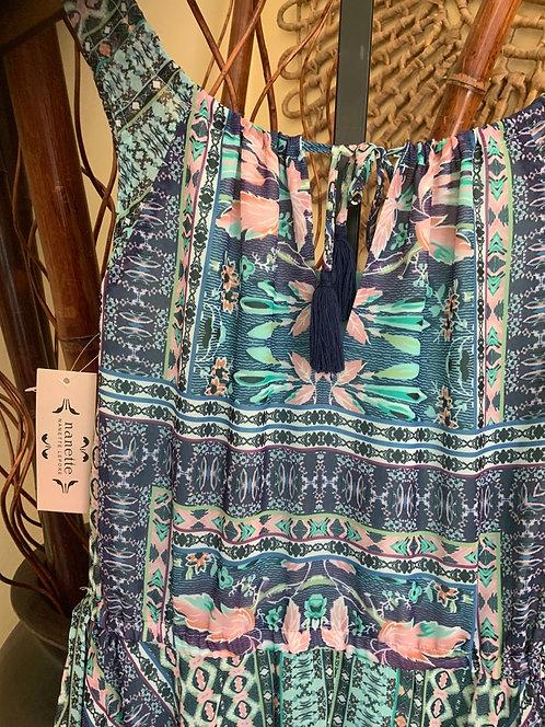 NANETTE LEPORE - Blue/Aqua Print Dress, Size 8, NWT