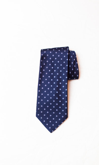 BROOKS BROTHERS - Silk Neck Tie, Navy Blue w/Tiny Flowers