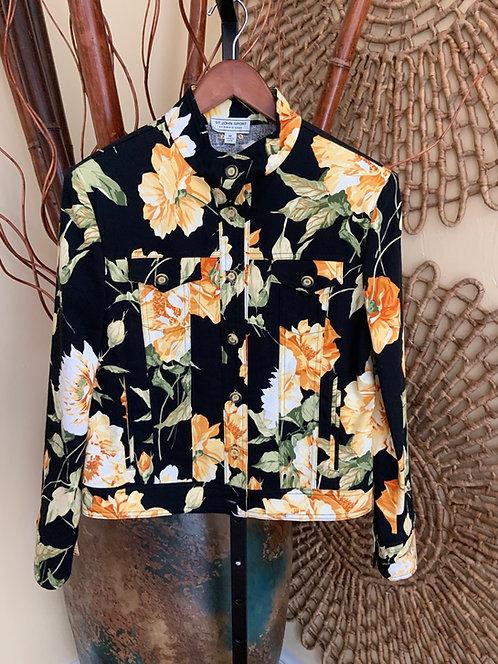 ST. JOHN - Black Floral Jacket, Size M