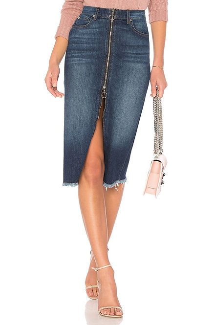 7 FOR ALL MANKIND - Zip Front Denim Skirt, Size 25