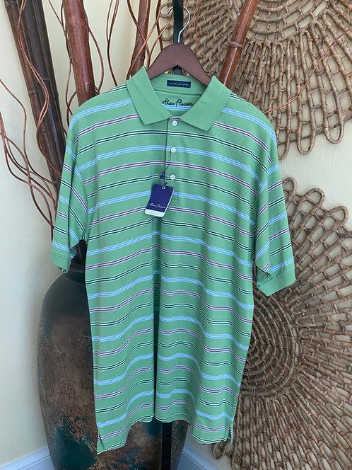 ALAN FLUSSER - Green Stripe Golf Polo, Size L, NWT