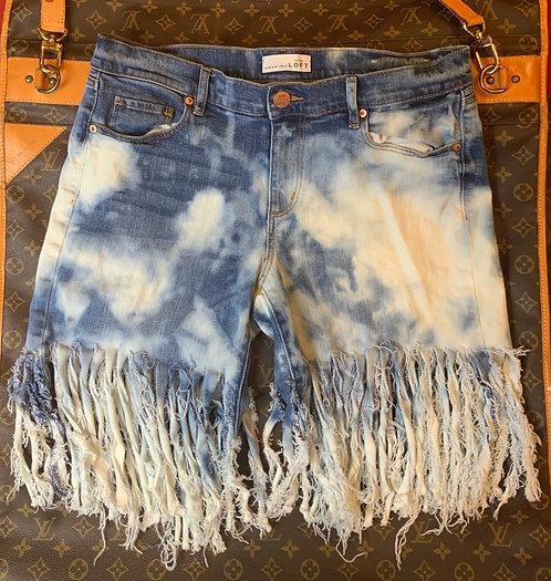 ANN TAYLOR LOFT - Fringed Denim Shorts, Size 6