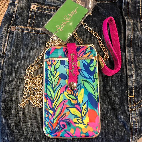 LILLY PULITZER - Hot Pink Floral Wristlet w/CrossBody Chain, NWT