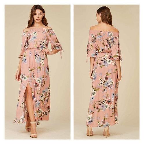 Off-Shoulder Boho Floral Maxi Dress