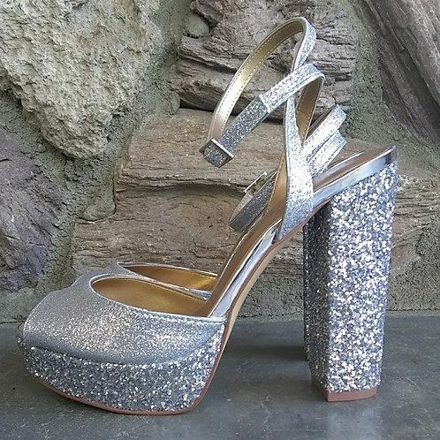 BADGLEY MISCHKA - Silver Metallic Glitter Platform BRAND NEW