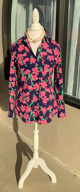 LILLY PULITZER - Pink Floral Blouse, Size XS