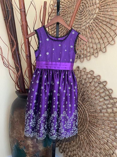 JONA MICHELLE - Purple Dress w/Pearl & Rhinestone Flowers, Size 8