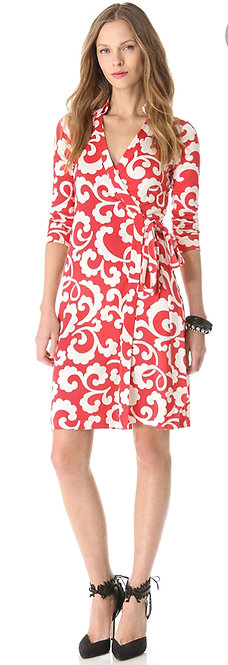 DIANE von FURSTENBERG - Coral/White Wrap Dress, Size 14, NWT