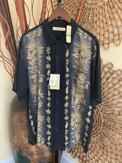 TOMMY BAHAMA - Black Tropical SS Shirt, Size L, NWT