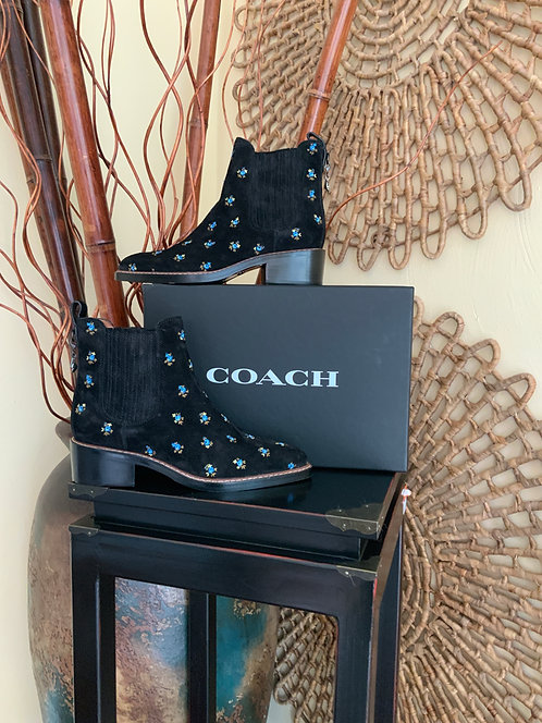 COACH - Embroidered Suede Bootie, Size 8.5, BRAND NEW