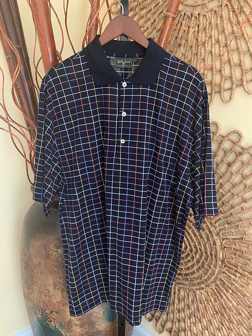 BOBBY JONES - Black Plaid Golf Polo, Size L, NWT
