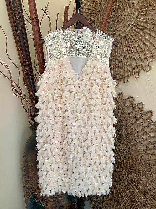 ANTHROPOLOGIE, CHAMPAGNE & STRAWBERRY - Flower Petal Dress, Size 12