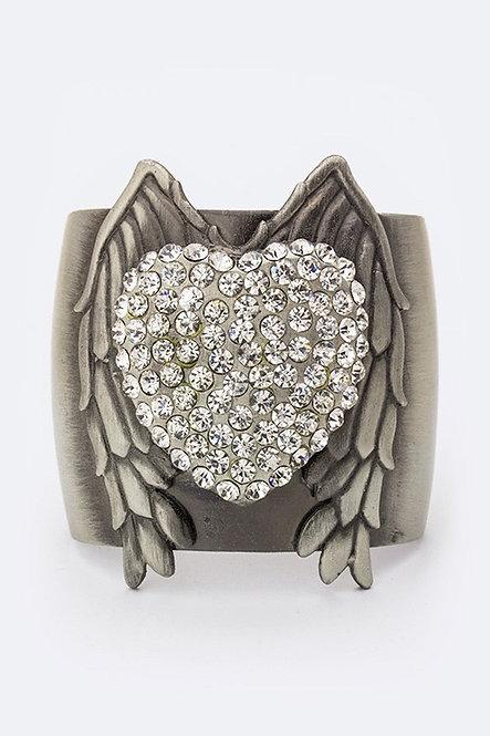 Heart Wing Crystal Cuff Bracelet