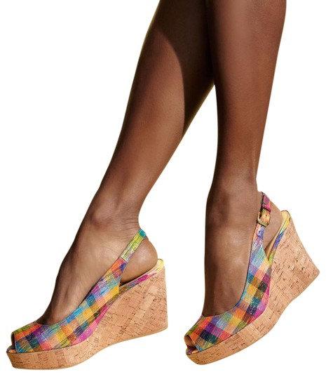 STUART WEITZMAN - Plaid Wedge Sandal, Size 7.5