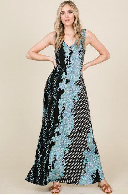 Black/Turquoise Floral Print Maxi
