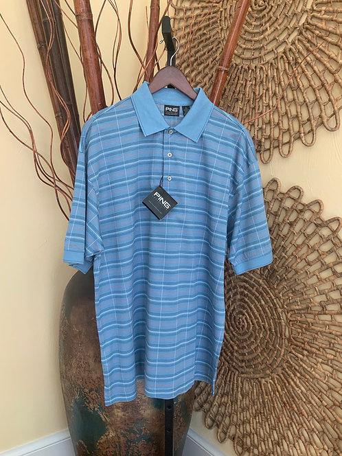 PING - Blue Stripe Golf Polo, Size L, NWT