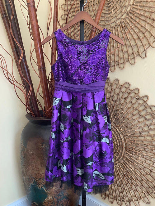 EMILY WEST - Purple Sequin & Purple Floral Print Dress, Size 14