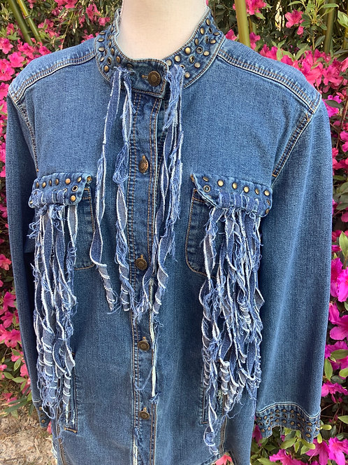 DISTRESSED DENIM JACKET - Size XL