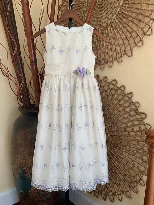 CINDERELLA - Cream Dress w/Embroidered Lavender Flowers, Size 10