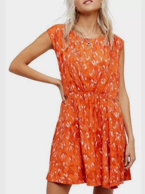 FREE PEOPLE - Orange Print SunDress NWT, Size S