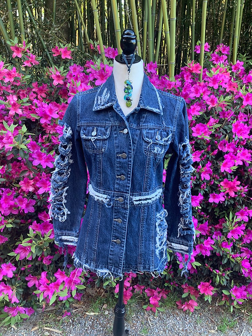 DISTRESSED DENIM JACKET - Size S