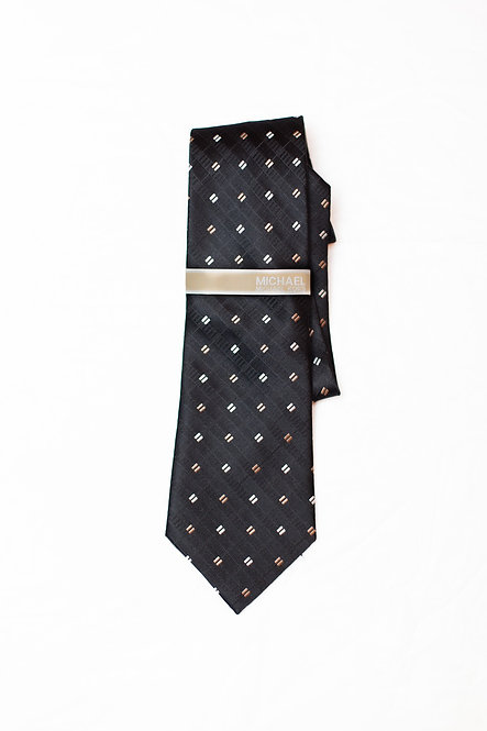 MICHAEL KORS - Silk Neck Tie, Black w/Tan & White Squares, NWT