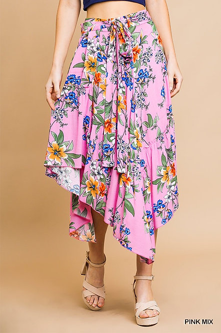 Floral Print Midi Wrap Skirt