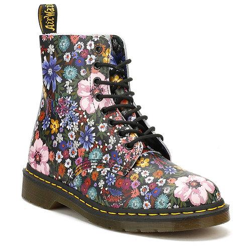 DOC MARTENS - Black Floral Combat Boots, Size 11, BRAND NEW