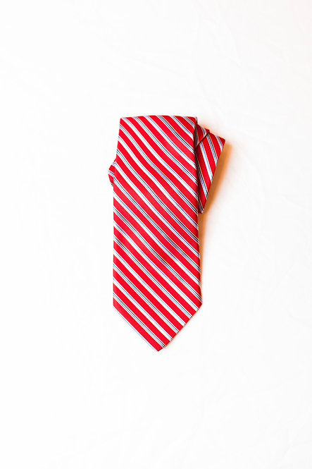 BROOKS BROTHERS - Silk Neck Tie, Red Diagonal Stripe