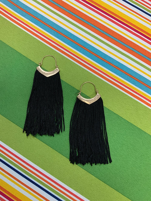 Antique Gold, Black Fringe Earrings