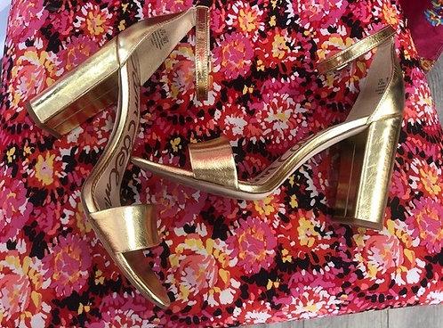 SAM EDELMAN - Metallic Gold Sandals, Size 9.5