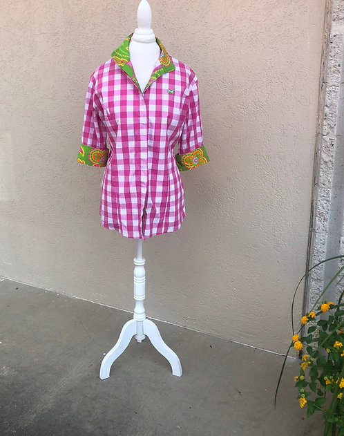 MIDDY N ME - Plaid & Floral Shirt, Size 14