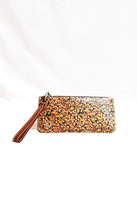 PATRICIA NASH - Camel/Black Floral Print Leather Wristlet