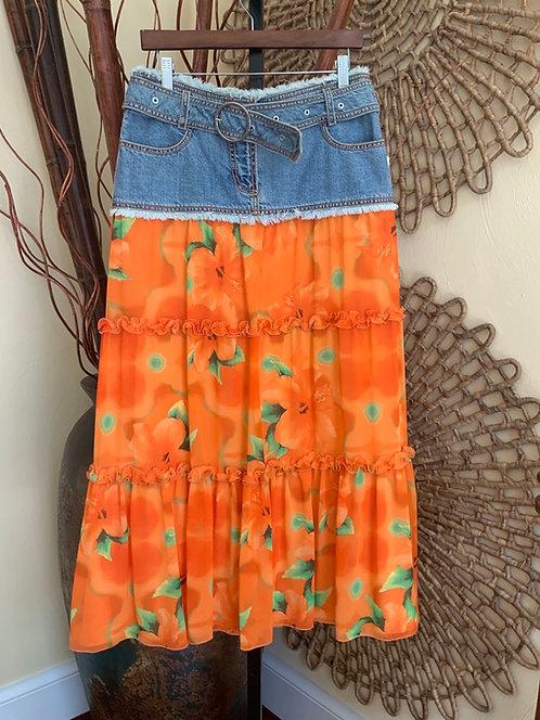 ESCADA - Denim Skirt w/Orange Floral Tiered Bottom, Size 36