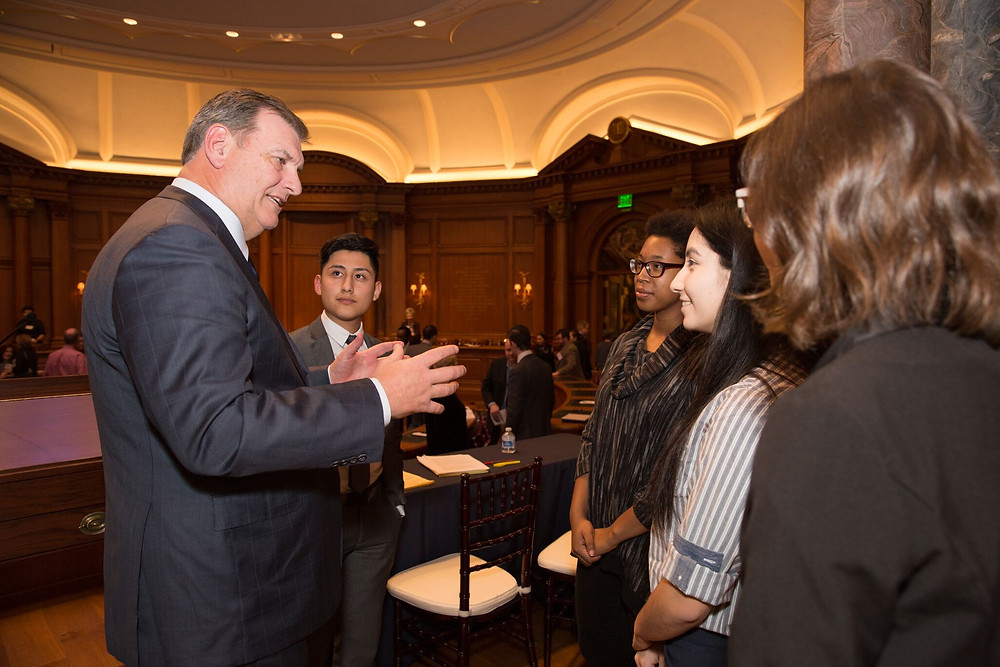 Dallas Mayor Mike Rawlings and the DISD debaters