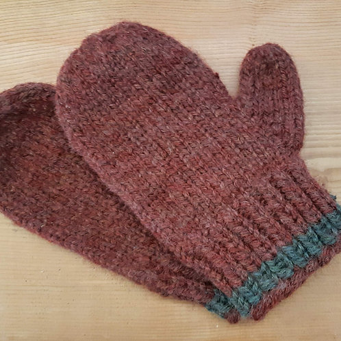 Red with Grey Band Mittens
