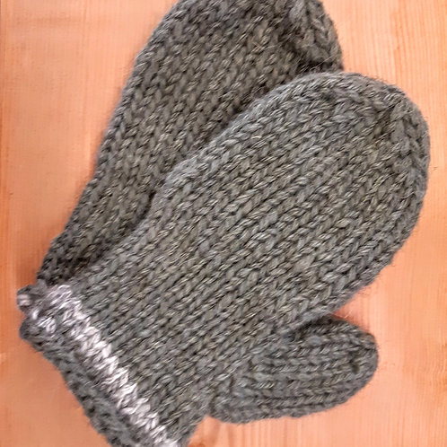 Light Grey Banded Mittens