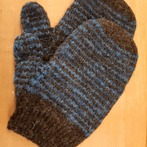 Brown and Blue Stripe Mittens