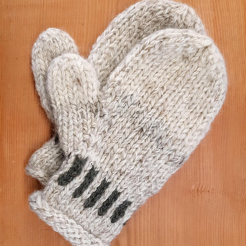White Heather Banded Mittens
