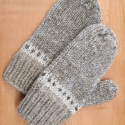 Light Heather Grey Banded Mittens
