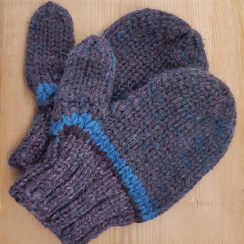 Purple Heather Blue Banded Mittens