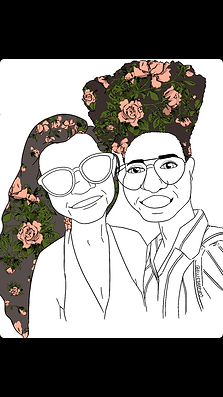 Illustration of Reigh and Katherine Ring owners of Golden Gaze B&B. Image features foral illustration in their hair by artist Allie Shapiro