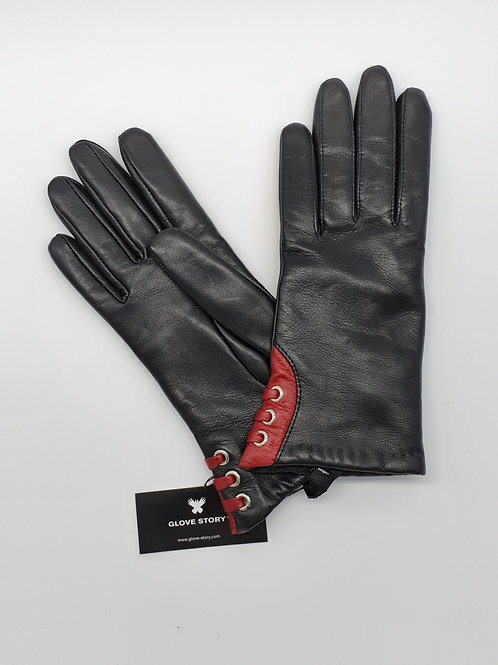 Gants Cuir Gloves Story Noir Poignet Bordeaux