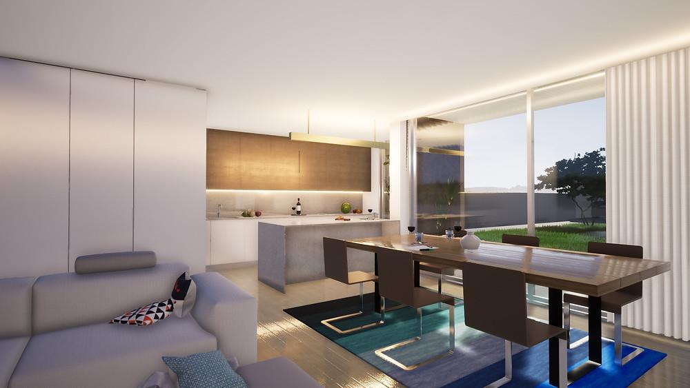 Cozinha de moradias Gião em 3D renderizado