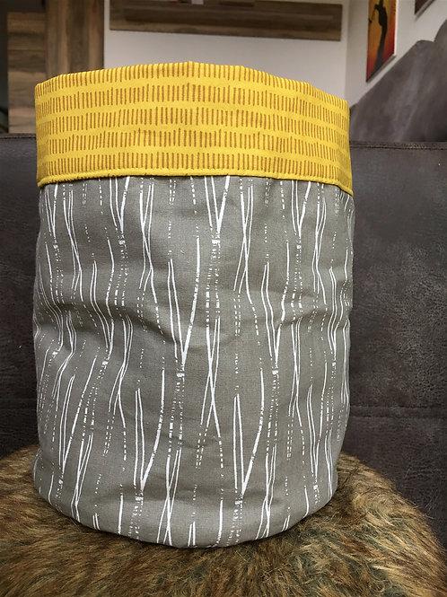 Oboustranný textilní košík (khaki/hořčicová)