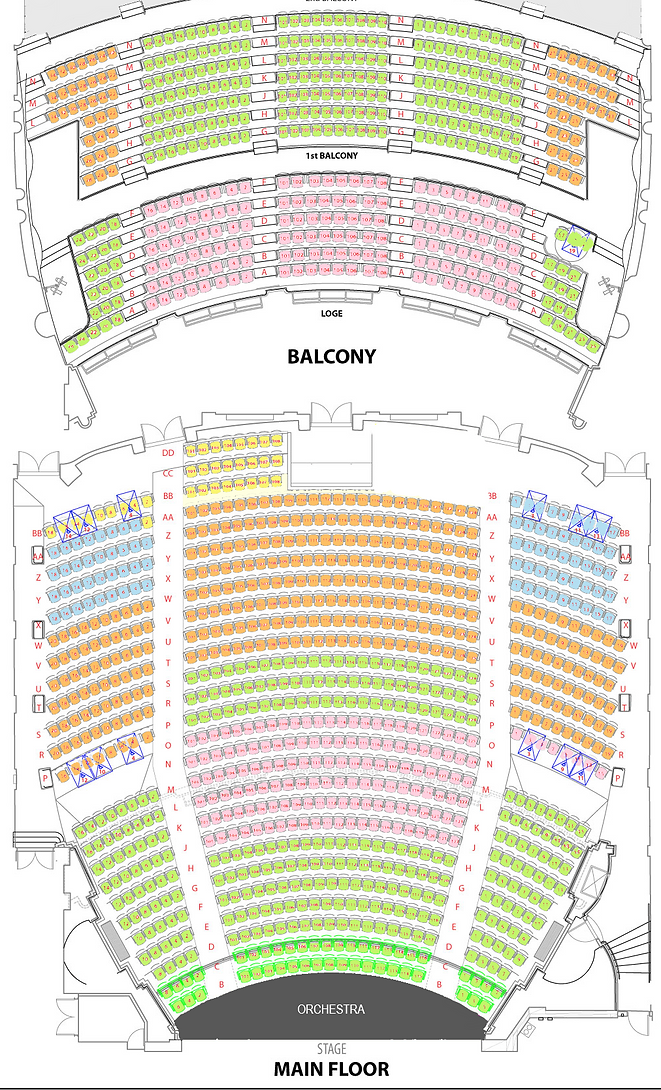 Zone Seating Diagram for the Paramount Theatre