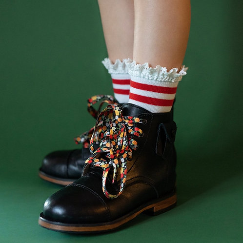 Red Stripe Lace Midi Socks