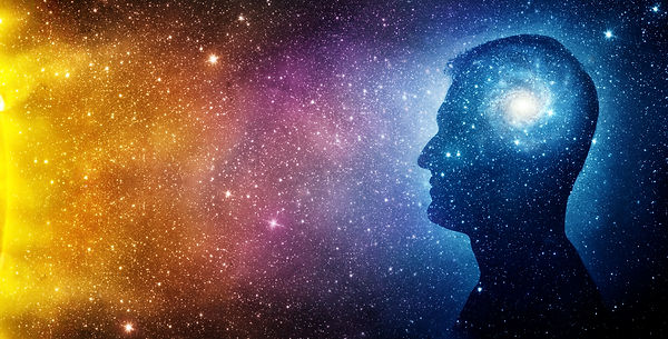 The universe within. Silhouette of a man