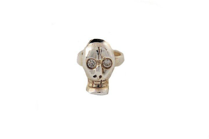 SKULLIE RING- CZ ACCENTS