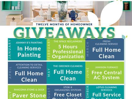 Twelve Months of Homeowner GIVEAWAYS!